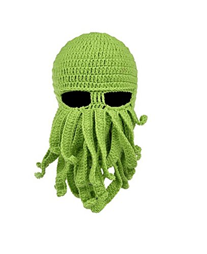Fashionclubs Fashionclubs Women Men Winter Warm Octopus Entacle Beanie Wind Mask Knit Hat Cthulhu Fisher Cap(Green)