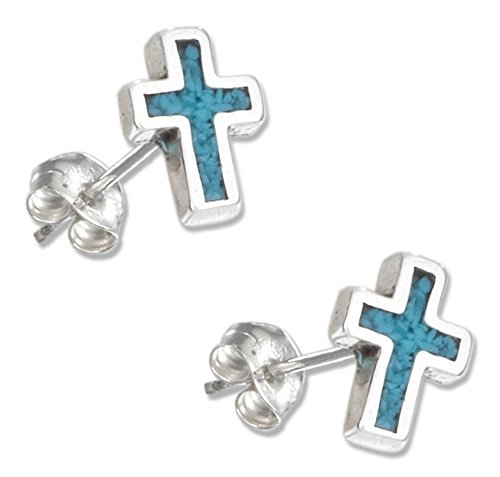 (Sterling Silver Simulated Turquoise Cross Earrings on Stainless Steel Posts)