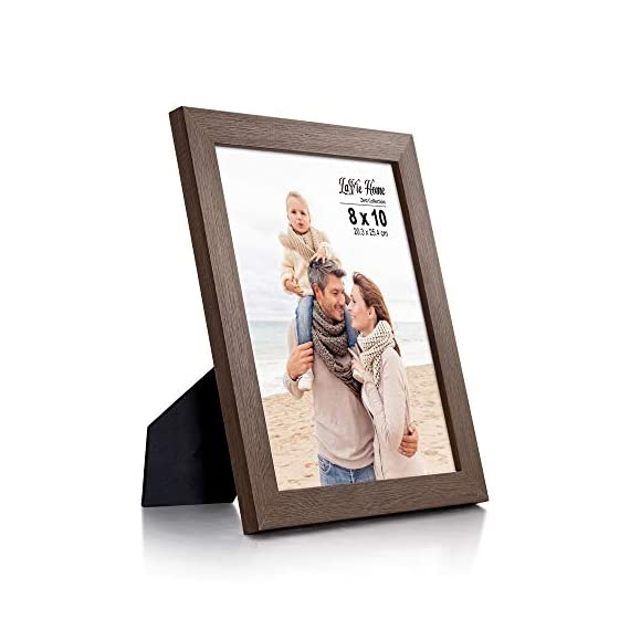 LaVie Home 8x10 Picture Frames (4 Packs, Dark Brown) Wooden Textured Finish Photo Frame with High Definition Glass for Wall Mount & Tabletop Display, Set of 4 Zest Collection - √ UNIQUE WOOD TEXTURE DESIGN - LaVie Home 8 x 10 picture frame is designed with a simple lines, Vintage faux wood texture photo frame and it looks bright and tasteful, fits any decor,whether it's modern or vintage. √ HIGHEST QUALITY - Crafted by Durable PS (acrylic-resin) molding construction, clean lines with attractively artificial wood texture finished. Every frame made with perfect attention to details. √ WALL MOUNT or TABLE TOP - Includes hanger hooks to easily hang artwork or photographs in either portrait or landscape orientation. Versatile kickstand easel lets you display either horizontally or vertically. - picture-frames, bedroom-decor, bedroom - 41msNNzXOtL. SS570  -