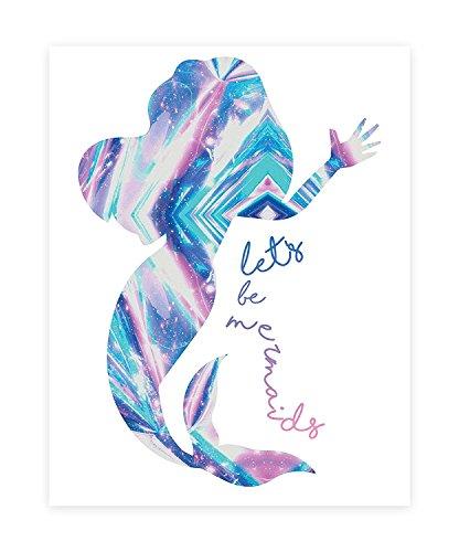 (Let's Be Mermaids, Print in 08x10 Inch Print, Mermaid Print, Mermaid Wall Sign, Baby Nursery Wall Decor Kids Bedroom Decor, Kids PosterQuote Photo, Mermaid Decor Wall, Mermaid Silhouette)