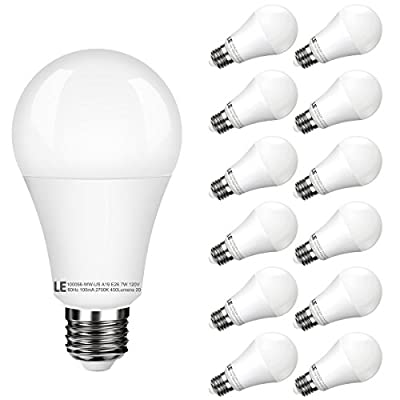 LE 12 Pack A19 E26 LED Bulbs, 40W Incandescent Bulbs Equivalent, 7W, Not Dimmable, 450lm, Warm White, 2700K, 200° Flood Beam, LED Light Bulbs