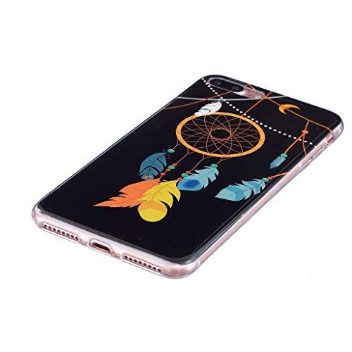 """Coque iPhone 7 Plus, IJIA Ultra-mince Transparent Noctilucent Campanulacées Capturêve TPU Doux Silicone Bumper Case Cover Shell Skin Housse Etui pour Apple iPhone 7 Plus (5.5"""") + 24K Or Autocollant"""