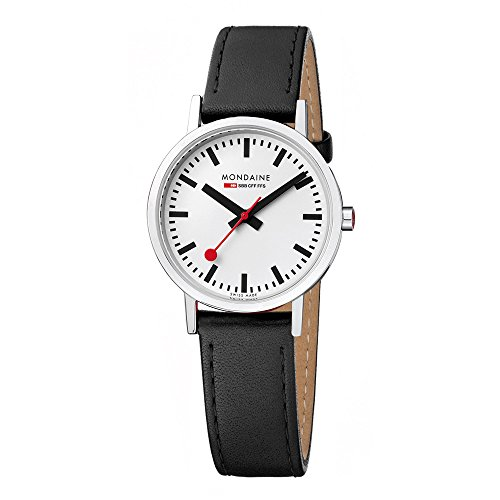Mondaine Men's Classic 36 mm Watch with Stainless Steel Polished Case White Dial and Black Leather Strap with Stitching Strap A660.30314.11SBO (Dial Polished White)
