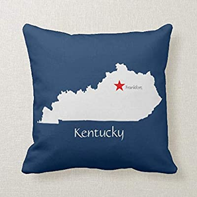 McC538arthy Kentucky State Map with Capitol Star Square Throw Decorative Throw Pillow Covers for Couch Bed 18 x 18