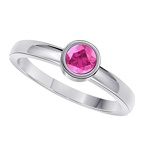 Classic 1.00 Ct Round Cut Lab Created Pink Sapphire Bezel Set Solitaire Engagement Ring in 925 Sterling Silver
