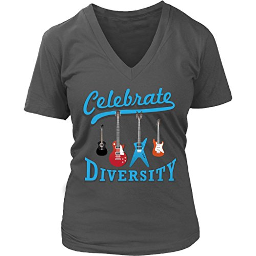 Celebrate Diversity Cool Funny Awesome Unique Guitarist V-Neck T-Shirt For Women