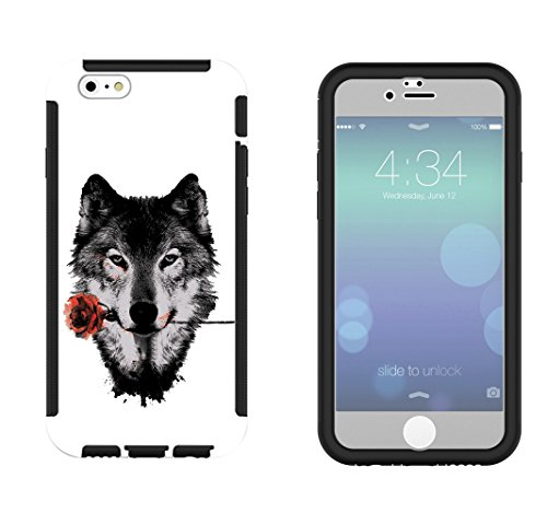 1491 - Cool Fun Trendy wolf colourful animals wildlife woods whimsical rose Design iphone 6 6S 4.7'' Full Body Hülle With Build in Screen Schutzhülle Schutzcase Hartplastik / Rubber Defender Shockproo