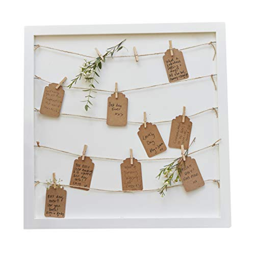 Ginger Ray Wooden Frame with Pegs, String & Tags to Hang Notecards & Photos - Alternative Guest Book for Weddings, Baby Shower & Bridal Shower Party (Bridal Hang Tags)