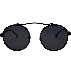 Caponi 2017 New Fashion Vintage Round Steampunk Style Sunglasses Black 1762