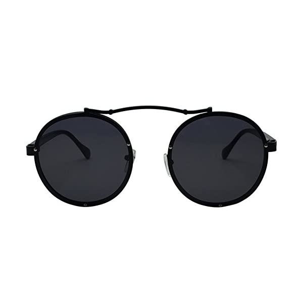 Caponi Vintage Round Steampunk Style Sunglasses Black 1762 3