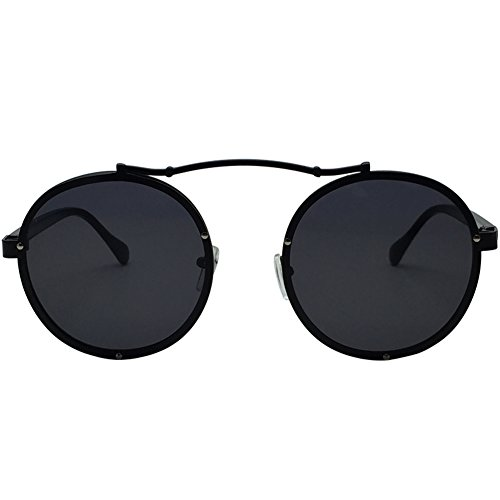 Caponi 2017 New Fashion Vintage Round Steampunk Style Sunglasses Black - Style New Sunglasses 2017