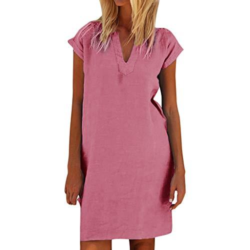 Veodhekai Womens Plus Size Dress Linen Shift Daily Paneled Plain Dresses Casual Short Sleeve Solid Loose Dress Pink