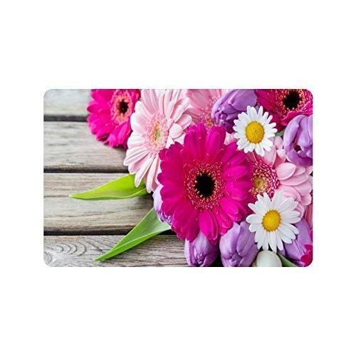 LINGVYTE Purple Pink White Flower Durable Home Indoor/OutdoorFloor Mat Doormats 23.6 x 15.7 Inches(Small)