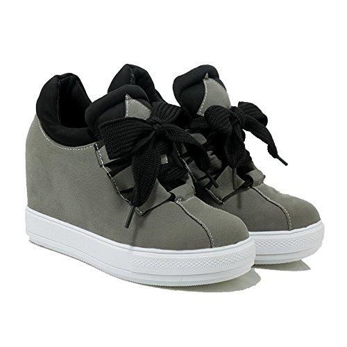 AllhqFashion Damen Rund Zehe Hoher Absatz Mattglasbirne Rein Schnüren Pumps Schuhe Grau
