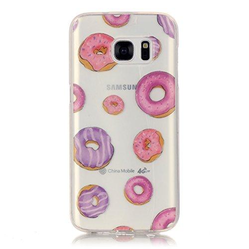 Mokyo Samsung Galaxy S7 Hülle,Ultra Dünn Weiche Klar TPU Gel Schutzhülle Stoßfest Silikon Bumper Tasche mit [Frei Stylus Stift] Niedlich Karikatur Muster Anti-Scratch Kratzfeste Gummi Rubber Durchsich Donuts