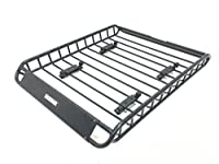 "MaxxHaul 70115 Universal Steel Roof Rack Car Top Cargo Carrier / Basket - 46"" x 36"" x 4-1/2"" - 150 lb. Capacity"