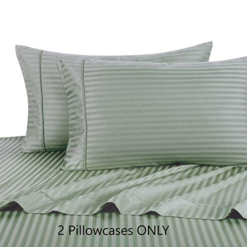 300 Thread Count King Sage Pillow Cases Pair Set of 2, 100% Egyptian Cotton Long Staple Yarns, Sateen Weave, Durable & Soft, 20