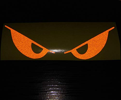 - Orange Evil Eyes No Fear Decal Reflective Reflector Devil Demon Sticker 6