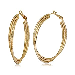 Olenata Gold Hoop Earrings for Women - 40 mm Twisted Hoop Earrings Diamond Sparkle Cut