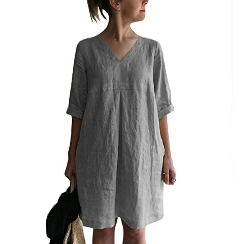 Cicy Bell Women's V Neck Cotton Linen Tunic Tops Half Sleeve Summer Loose Casual Dresses (Grey,Large)