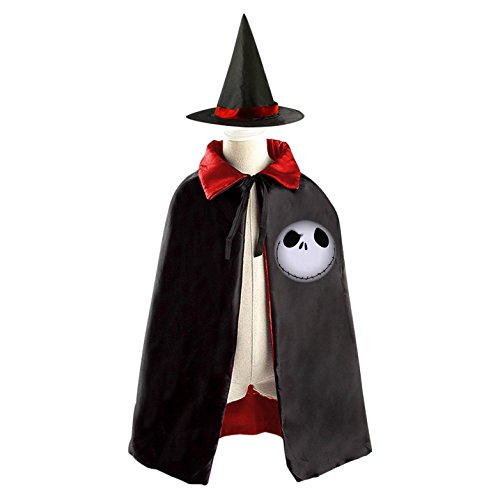 DBT Nightmare-before-christmas Skull Childrens' Halloween Costume Wizard Witch Cloak Cape Robe and Hat