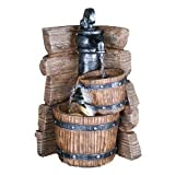 11.5-inch H Table Fountain with 2 Wood Bucket