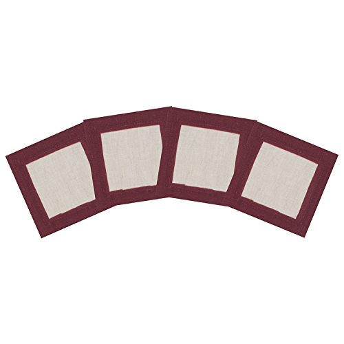 - Huddleson Cinta Painted Border Natural Pure Linen Cocktail Napkin 6x6, Burgundy Red Border (Set of Four)