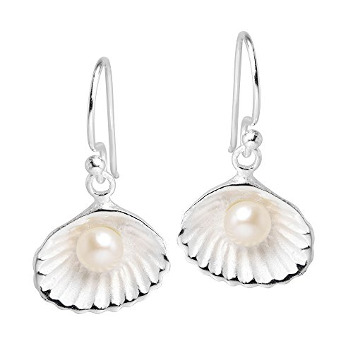 Precious Cultured Freshwater White Pearl in a Seashell .925 Sterling Silver Dangle Earrings