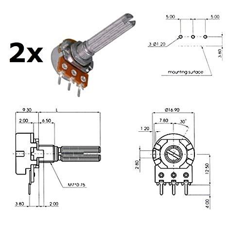 potentiom/ètre Log Mono 2 x Ecc 16 mm 100 ka 4a1, L : 25 mm
