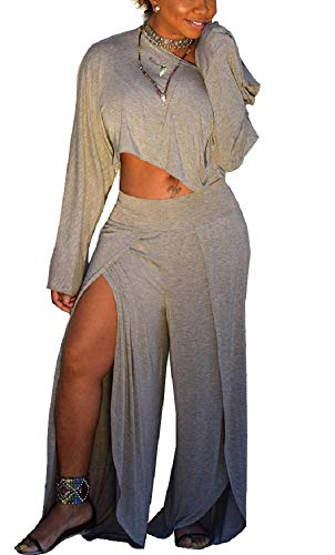 LETSVDO Womens 2 Piece Outfits Long Sleeve One Shoulder Crop Top and High Waist Split Pants Plus Size ()