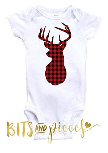 Amazon com: Baby Deer Onesie|Buffalo Check|Plaid|Baby Boy|Baby Girl