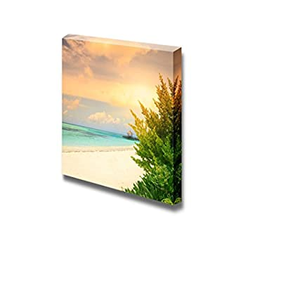 Canvas Prints Wall Art - Over Water Bungalows with Steps into Amazing Green Lagoon on Sunset - 24