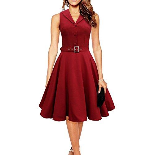 WintCO Vestidos de Fiesta para Bodas Vestidos Retro Vintage Waltz Rockabilly Audrey Hepburn de Años 50 Vestido Plisado con Cinturón botones para Negocios Cóctel Granate