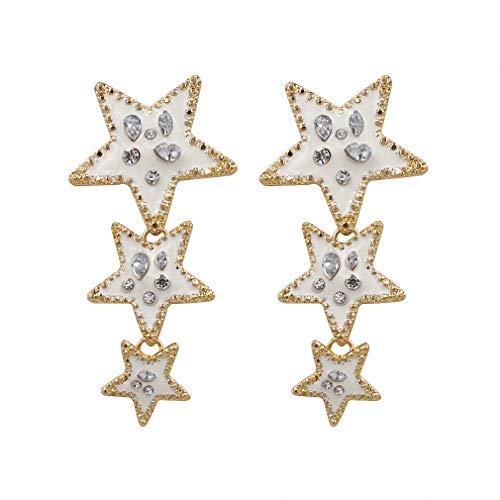 Enamel Star Earrings Women Bohemia Vintage Drop Dangle Earrings Statement Wedding Jewelry 2