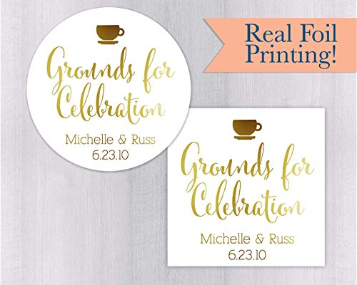 Grounds for Celebration Foiled Coffee Tea Wedding Favor Stickers (#092-F)