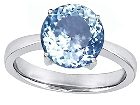 Star K Solitaire Big Stone Ring with 10mm Round Simulated Aquamarine Size 5 - Big Stone Ring
