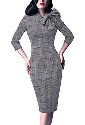(Women's 1950s Retro 3/4 Sleeve Bow Cocktail Party Evening Dress Work Pencil Dress (Large, Black and White Houndstooth Print))