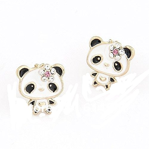 Price comparison product image Basket Hill , Panda Bear with Flower on Head Post Earrings