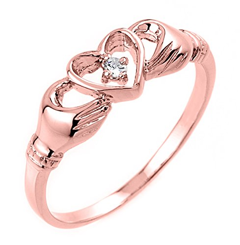 High Polish 10k Rose Gold Diamond Solitaire Claddagh Ring (Size 7.25)