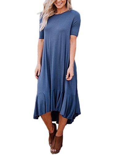 Happy Sailed Women Casual Flowy Ruffles High Low Short Sleeves Shirts Midi Dresses, Medium Blue-1
