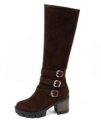 Heel Buckled Knee Platform Round Stylish Mid High Side Block Zipper Belt Easemax Womens Brown Boots Toe 7Eqx8gnwP