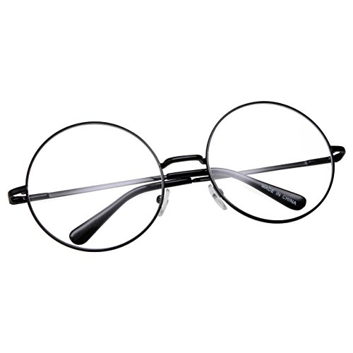 grinderPUNCH - Non-Prescription Round Circle Frame Clear Lens Glasses Medium Black ()