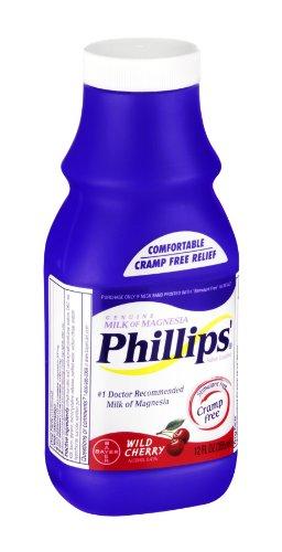 Phillips Milk of Magnesia Wild Cherry Saline Laxative, 12 FZ (Pack of 4)