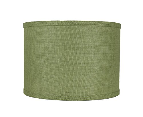 Urbanest Classic Drum Burlap Lampshade, 14-inch by 14-inch by 10-inch, Khaki ()