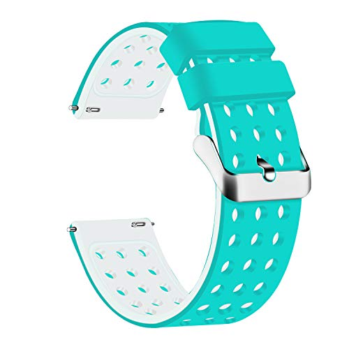 Lwsengme Silicone Quick Release - Choose Color & Width (18mm, 20mm,22mm) - Soft Rubber Watch Bands (Teal/White, 18mm)