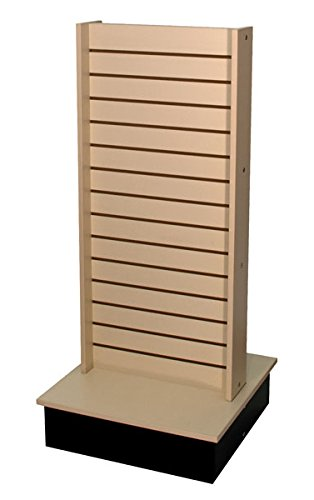 ROLLING SLATWALL DISPLAY 2-SIDE RETAIL STORE PORTABLE FIXTURE US MADE ALMOND NEW