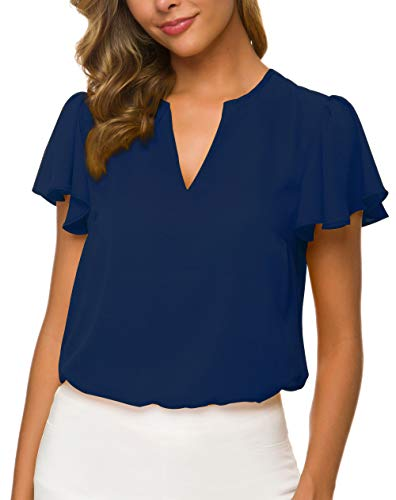 Women's Casual Ruffled V Neck Chiffon Blouse Short Sleeve Office Work Elegant Summer Shirt Vintage Loose Fit Tops,Navy,M