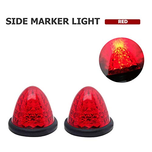 WEPECULIOR 2PCS LED Side Marker Light Indicator Lamp, 16 LED Round Beehive Cab Top Roof Turn Signals Lights for 12V 24V Truck Car Bus Trailer Boat - Red