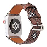 MeShow TCSHOW 42mm Tartan Plaid Style Replacement Strap Wrist Band Watch Band with Metal Adapter Compatible for Apple Watch Series 3 2 1(Not fit for 38mm Apple Watch) (P)
