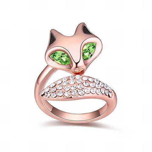 (HOX Swarovski Elements Crystal Ring - Beautiful Fox Creative Ornaments Fashion Swarovski Crystals Crystal Alloy Plated Gold, Olive)